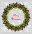 christmas fir and holly tree wreat vector image vector image