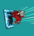 christmas online sales concept santa claus comes vector image vector image