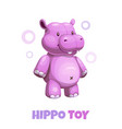 cute cartoon violet hippo textile stuffed toy vector image