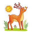 cute deer stands on meadow vector image vector image