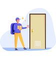 delivery man at door house vector image vector image