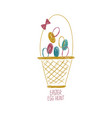 easter greeting card with basket full eggs vector image