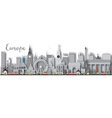 Europe skyline silhouette with different landmarks vector image vector image