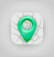 green map pin pointer on map modern app icon vector image