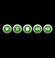 green metallic music control buttons set vector image