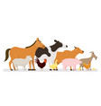 group of farm animals side view vector image vector image