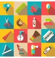 Hairdresser icons set flat style vector image vector image