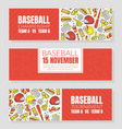 hand drawn baseball symbols used in ticket vector image vector image