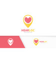 heart and map pointer logo combination vector image