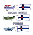 independence day of finland set with three planes vector image