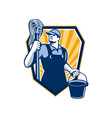 Janitor Cleaner Hold Mop Bucket Shield Retro vector image vector image