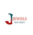 jewels jewelry boutique letter j icon vector image vector image