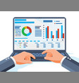 laptop with statistical or analytical information vector image