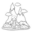little tourist boy in landscape scene vector image vector image