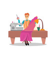 male dressmaker sewing pink dress by sewing vector image vector image