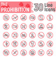 prohibition line icon set forbidden signs vector image vector image