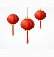 realistic detailed 3d chinese red paper lantern vector image vector image
