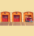 red truck leaving fire station garage box alarm vector image vector image
