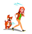 scared girl runs away from the dog vector image vector image