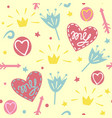 seamless pattern with crowns hearts flowers vector image