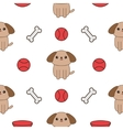 Seamless Pattern with dog bone plate ball toy vector image vector image