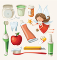 set items for keeping your teeth healthy vector image vector image