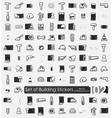 Set of building stickers vector image vector image