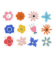 set spring summer flowers isolated on white vector image vector image