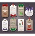 set vintage tags with silk bows vector image vector image