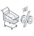 shopping card and percent sale discounts at shop vector image vector image