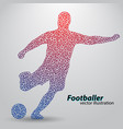 silhouette of a football player from triangles vector image