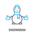 snowman thin line icon sign symbol vector image vector image