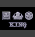stone logo is king crown icon square and coin vector image