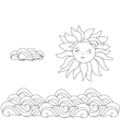 Sun and clouds line drawing vector image vector image