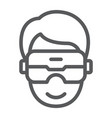vr headset line icon game and technology virtual vector image vector image