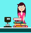 woman in book store selling books vector image vector image