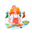 woman is cooking christmas vector image vector image