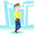 young confident business man cartoon character vector image