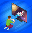 isometric young man plays video game on tv using vector image