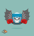 Boxing emblem Skull in a boxing helmet with gloves vector image