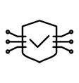 tech circuit shield line icon minimal pictogram vector image
