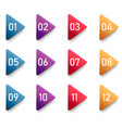 arrow bullet point triangle flags with colorful vector image vector image