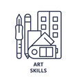 art skills line icon concept art skills vector image vector image