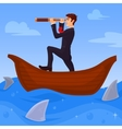 Businessman boss directs its business to various vector image vector image
