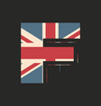 capital 3d letter f with uk flag texture isolated vector image vector image