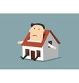 Cartoon businessman sitting in little house vector image