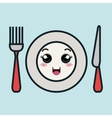 cartoon plate fork and knife with facial vector image vector image
