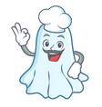chef cute ghost character cartoon vector image vector image
