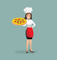 chef woman with pizza vector image