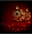 christmas red fire design with two balls and vector image